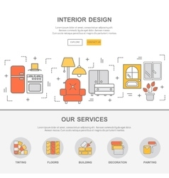 Web template with thin line icons of interior vector image vector image