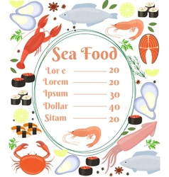 Colorful seafood menu poster vector image vector image