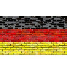 Grunge flag of Germany on a brick wall vector image vector image