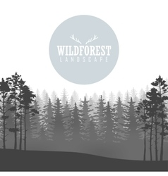 Wild coniferous forest background Pine tree vector image