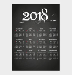2018 wall calendar on blackboard with chalk eps10 vector
