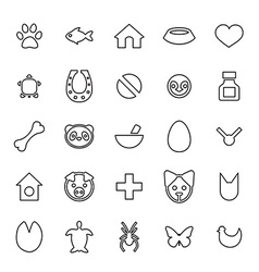 25 outline universal animals pets icons vector