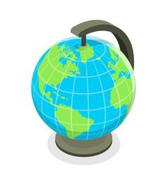 3d isometric flat concept globe model vector image