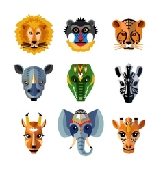 African Animals Heads Masks Flat Icons vector