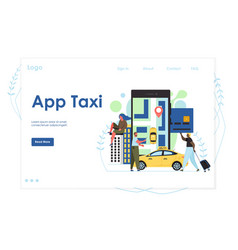 app taxi website landing page design vector image