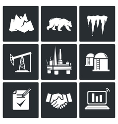 Arctic and oil production Icons Set vector image