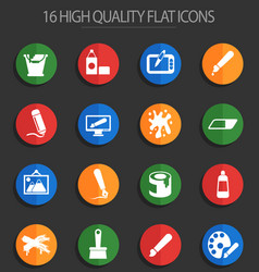 Art 16 flat icons vector