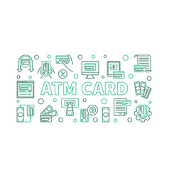 atm card horizontal banner in thin line style vector image