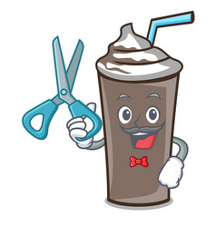barber ice chocolate character cartoon vector image