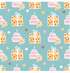 Birthday cakes and gifts seamless pattern vector