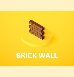 brick wall isometric icon isolated on color vector image