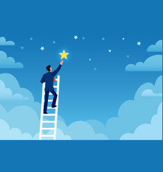 Businessman success man on ladder reaches stars vector