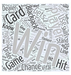 BWG how to win blackjack Word Cloud Concept vector image