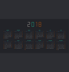 calendar for 2018 year on black background vector image