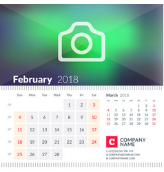 calendar for february 2018 week starts on sunday vector image