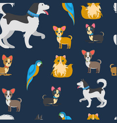 Cartoon pets color flat seamless pattern vector