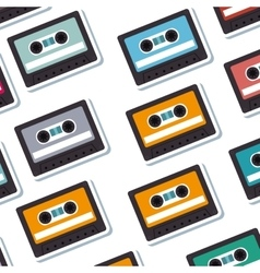 Cassette old music pattern vector