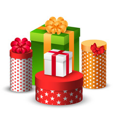 Christmas gifts in colorful boxes tied with ribbon vector