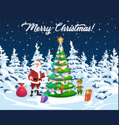 christmas tree santa and elf with gifts vector image