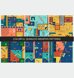 Collection seamless abstract memphis patterns vector