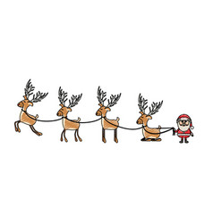 Color crayon stripe cartoon of funny reindeers and vector