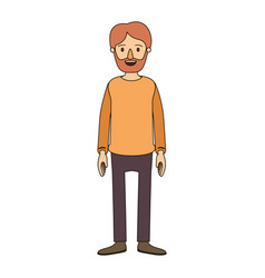 Color image caricature full body man bearded with vector