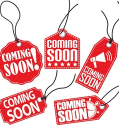 Coming soon red tag set vector image