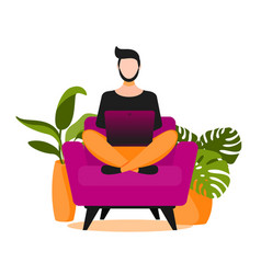 Concept of couchsurfing character man sitting on vector
