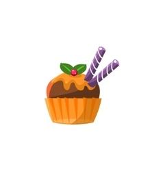 Cute cupcake with chocolate vector