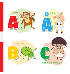 danish alphabet monkey sheep beetle mushroom vector image