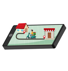 Delivery man riding on smartphone display vector