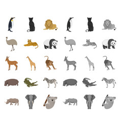Different animals cartoonmono icons in set vector
