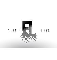 El e l pixel letter logo with digital shattered vector