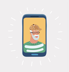 Elderly man on phone and smiling vector