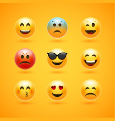 Emoticon face smile icon emotion happy vector
