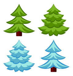 evergreen tree seasonal change 4 element set vector image