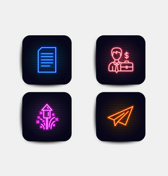 Fireworks businessman case and document icons vector