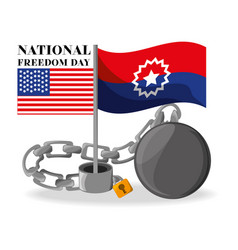 Flags and chain to celebrate national freedom vector
