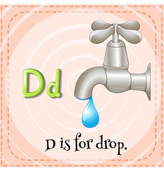Flashcar of d is for drop vector