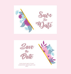 flowers wedding save date flower floral vector image