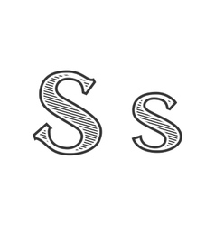 Font tattoo engraving letter S with shading vector