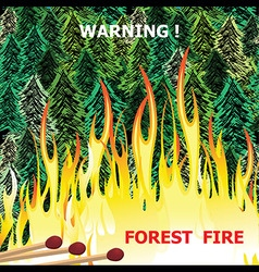 Forest fire wildfire burning tree in red and vector