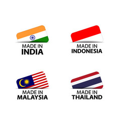 Four indian indonesian malaysian and thai stickers vector