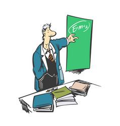 funny cartoon professor making a presentation vector image
