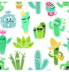 funny seamless pattern of cactus characters vector image