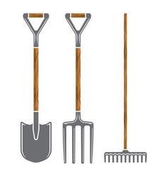 garden tool spade pitchfork and rake icons vector image