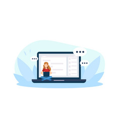 giant laptop tiny young woman sitting vector image