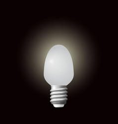 glowing led bulb in dark background vector image