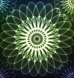 Green shining cosmic flower vector
