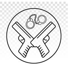 Handheld revolver gun pistol with handcuffs flat vector